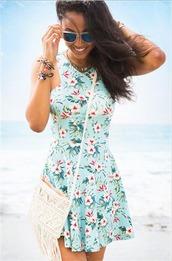 dress,tropical,girly dress,beach,flowers,floral,floraldress,blue dress,aqua blue,aquamarine,aqua dress,fashion,boho,boho dress,flower boho dress,pretty blue dress,summer outfits,girly,hipster,floral dress