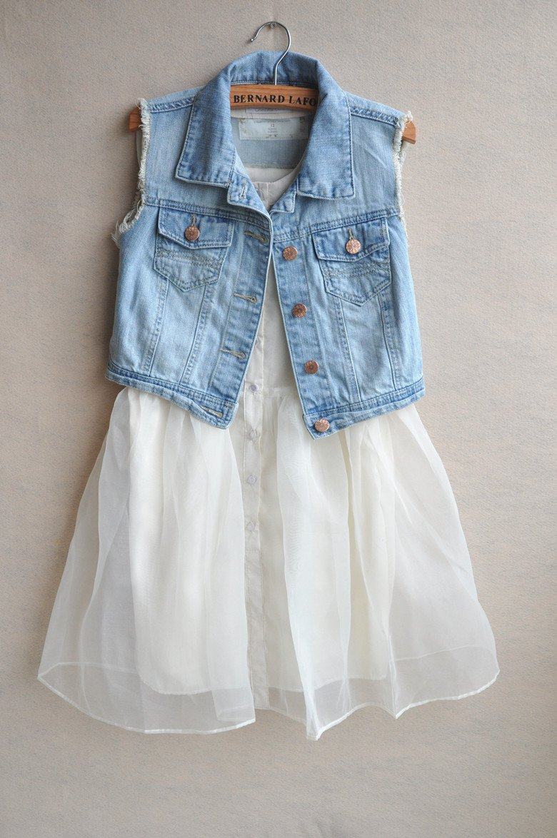 ship 2012 Hot CUTE Casual Raw Edges Design Blue Denim Vest Jean ...