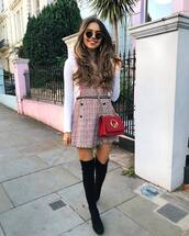 bag,crossbody bag,mini bag,chain bag,over the knee,suede boots,mini dress,sleeveless dress,white blouse,sunglasses