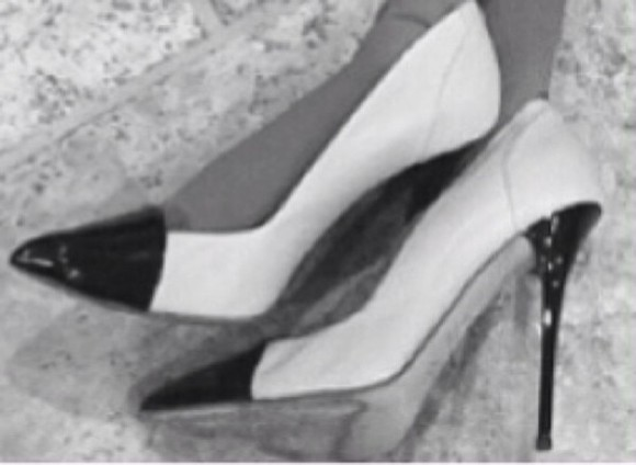 shoes high heels black and white white