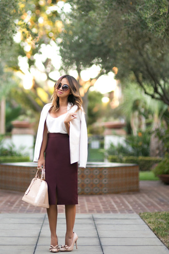 lace and locks blogger classy burgundy oxblood slit skirt white tank top white blazer cute high heels nude heels