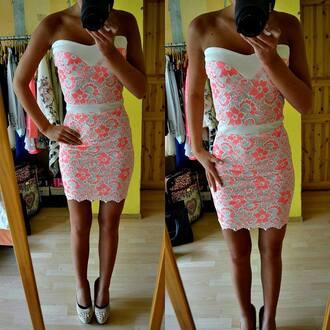 lace dress strapeless printed dress bodycon dress floral dress dress