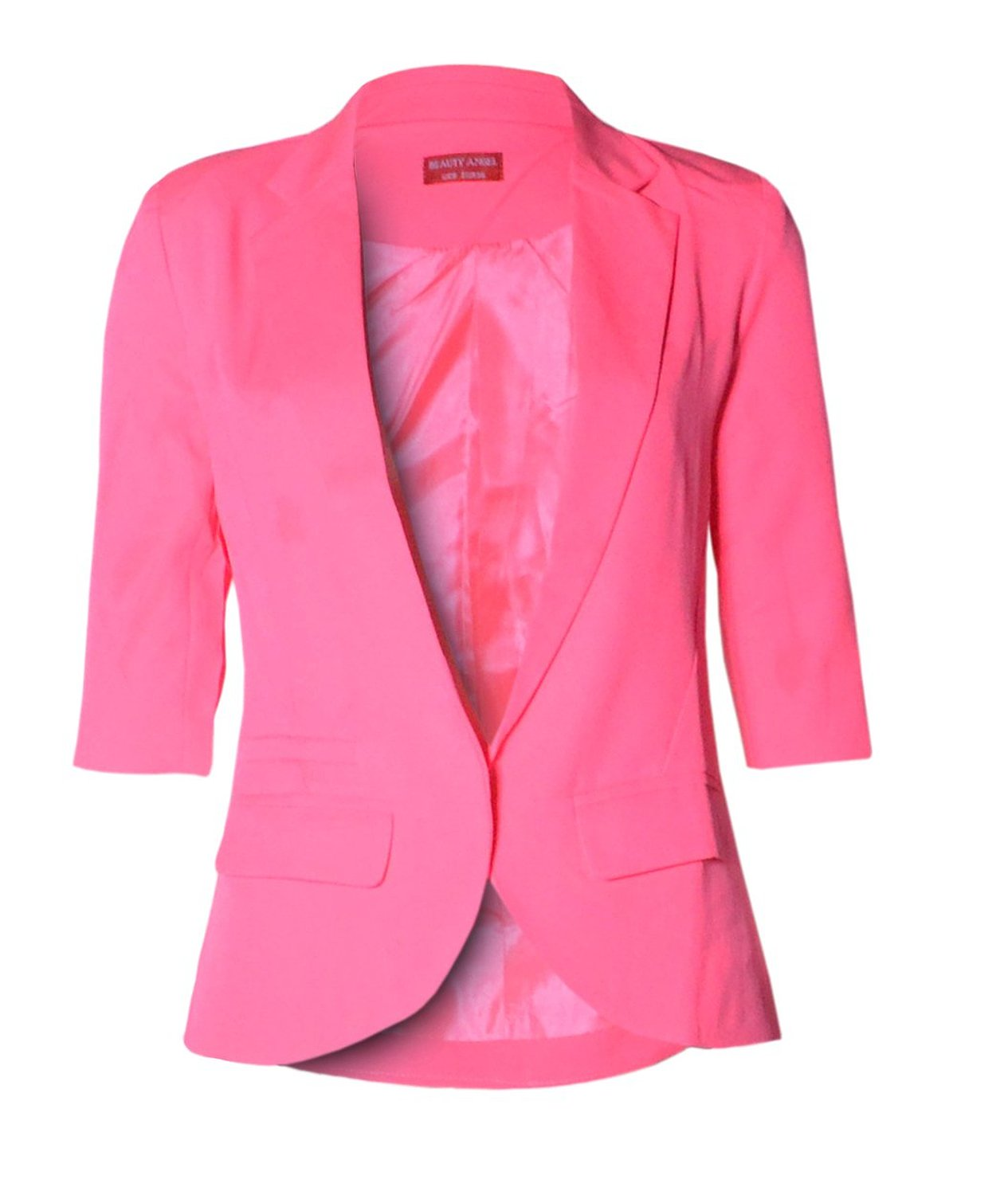 com: Womens 3/4 Sleeved Neon Pink Blazer (BW): Clothing
