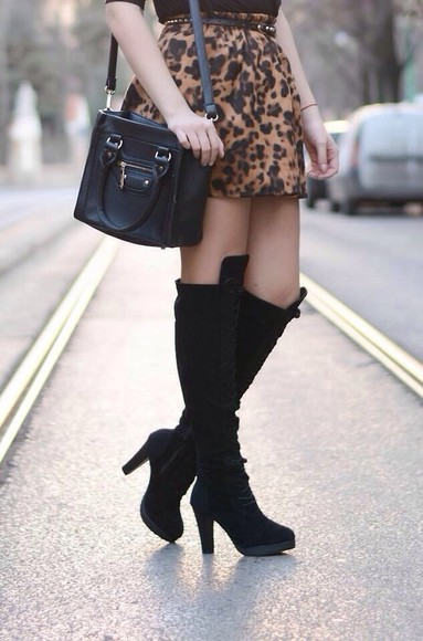 leopard print shoes boots high heels black cheetah is the new black skirt
