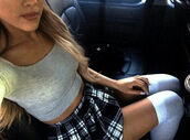 school girl,skirts and tops,socks,knee high socks,top,crop tops,ariana grande,skirt,arianna grande,plaid skirt