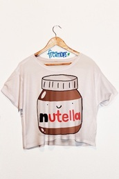 t-shirt,nutella,freshtops,shirt,blouse,top,cartoon,tank top,white crop tops,fresh top