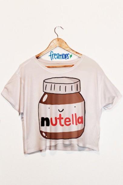 t-shirt nutella freshtops shirt freshtops blouse top cartoon tank top white crop tops fresh top
