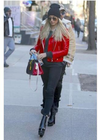 jacket hailey baldwin jeans boots