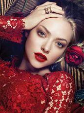 dress,red dress,lace dress,valentines day,red lace dress,red lipstick,amanda seyfried
