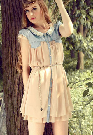 shopbazar shopping mall — [grzxy6601533]Contrast Color Button Down Short Sleeve Pleated Lace Dress