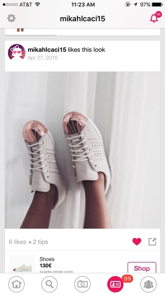 shoes adidas adidas superstars metallic toe