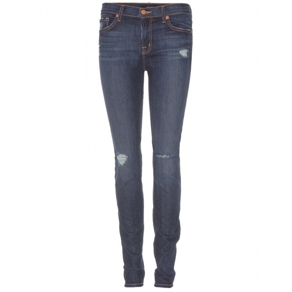 Rise destructed skinny jeans