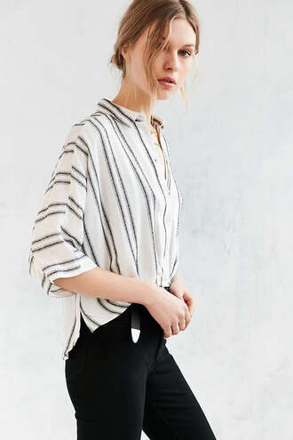 shirt black and white striped shirt urban outfitters