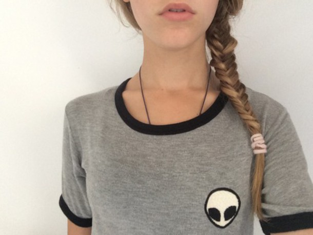 Bien connu Shirt: alien, grey t-shirt, grunge top, t-shirt, alien shirt  PL87