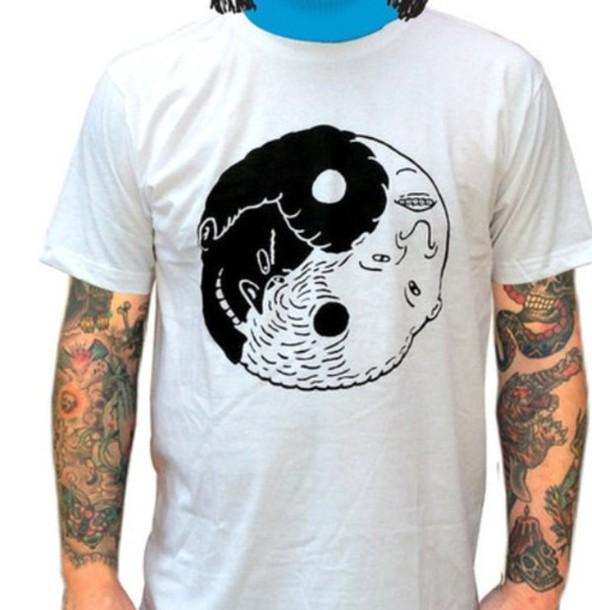 t-shirt Beavis and Butt-Head yin yang black white