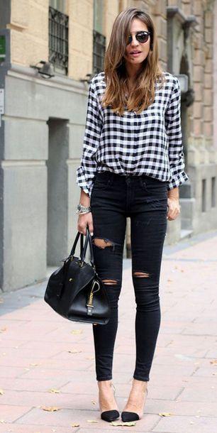 jeans black and white checkered shirt black bag blogger black stilettos black ripped jeans sunglasses