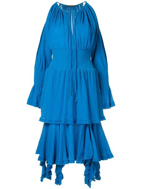 dress women layered cotton blue silk