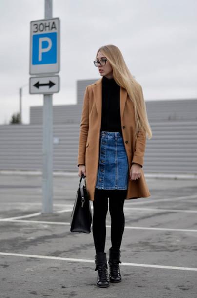 lisa f.k. music of the wind blogger camel coat denim skirt button up skirt button up denim skirt