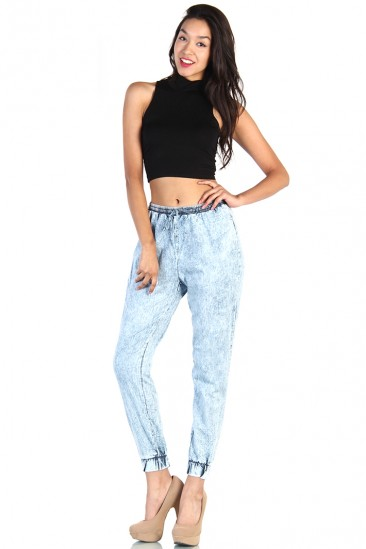 LoveMelrose.com From Harry & Molly   Acid Wash Track Pants - Blue