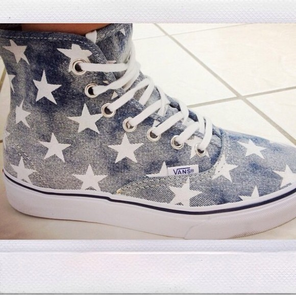 shoes denim blue, stars american flag
