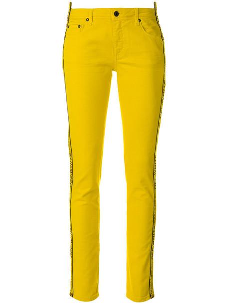 Off-White jeans skinny jeans women spandex cotton yellow orange