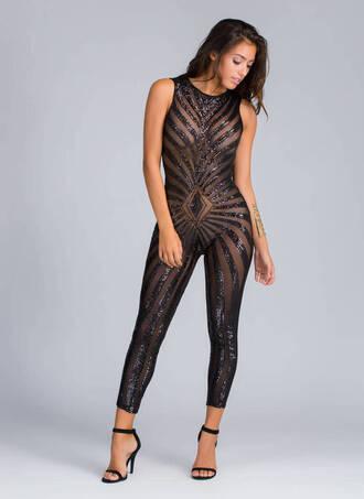jumpsuit sequins sheer black