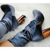 shoes,tumblr,boots,blue boots,velvet,velvet shoes,velvet boots,thick heel,high heels boots,block heels