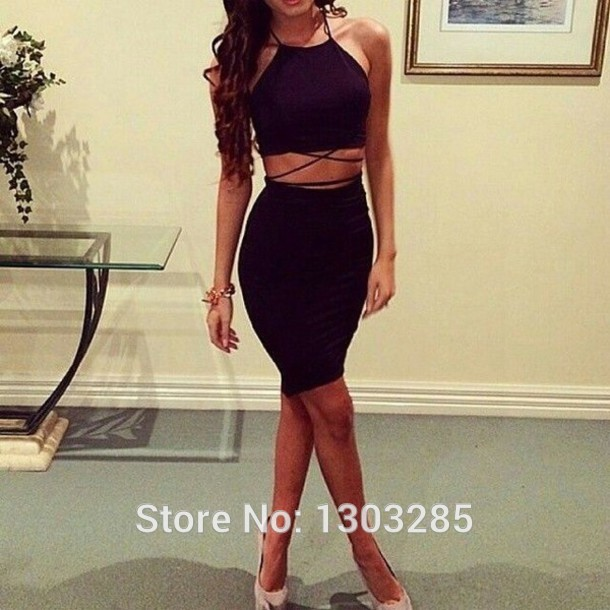 Assez com : Buy Sexy Halter Sheath Crop Top Natural Waist Mini Short  EY75