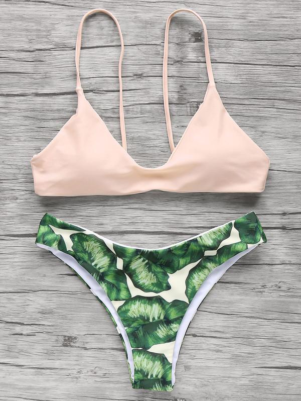 swimwear dressfo tropical summer fashion style pink bikini floral zaful pastel swimwear pastel pink swimwear printed swimwear two piece tropical swimwear floral swimwear tropical bikini boho bikini green cute beach