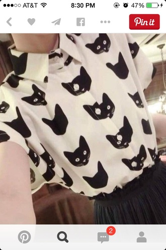 blouse cats cat blouse cat shirt shirt too pastel grunge goth hipster