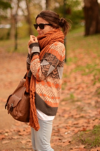 sweater scarf fall outfits winter outfits brown orange warm bag brown leather bag cardigan orange and brown aztec cardigan aztec white pattern fall sweater tribal cardigan fall colors