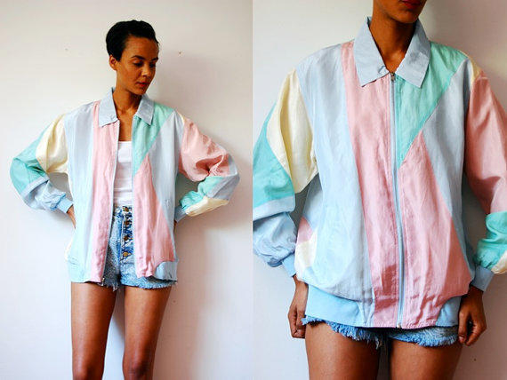 Vtg color block pastel silk zip up windbreaker jacket for Pastel colored men s t shirts