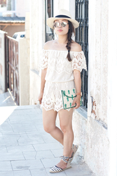 it's not her it's me,blogger,romper,bag,shoes,hat,jewels,off the shoulder,lace romper,white romper,clutch,lace up,lace up heels,white hat,summer outfits,embellished bag
