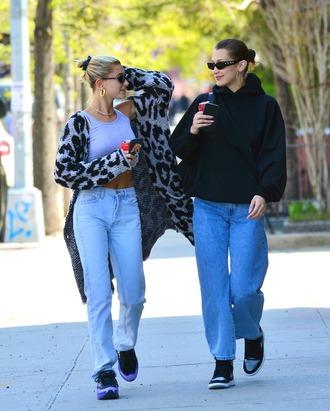 cardigan jeans denim top crop tops bella hadid model off-duty streetstyle hailey baldwin sunglasses sweatshirt
