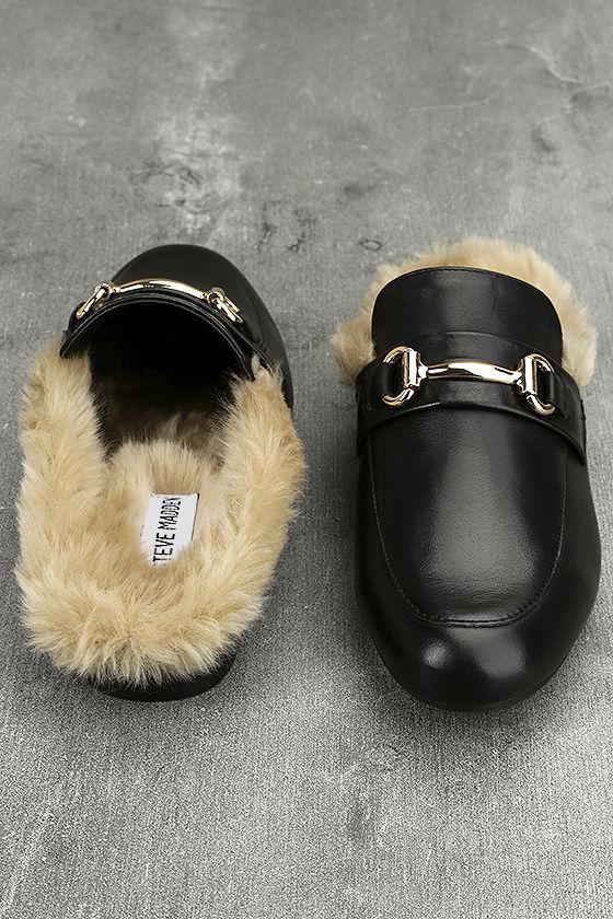 db31528fc1d Steve Madden Jill Black Leather Faux Fur Loafer Slides