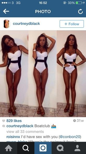 swimwear black bikini white swimwear