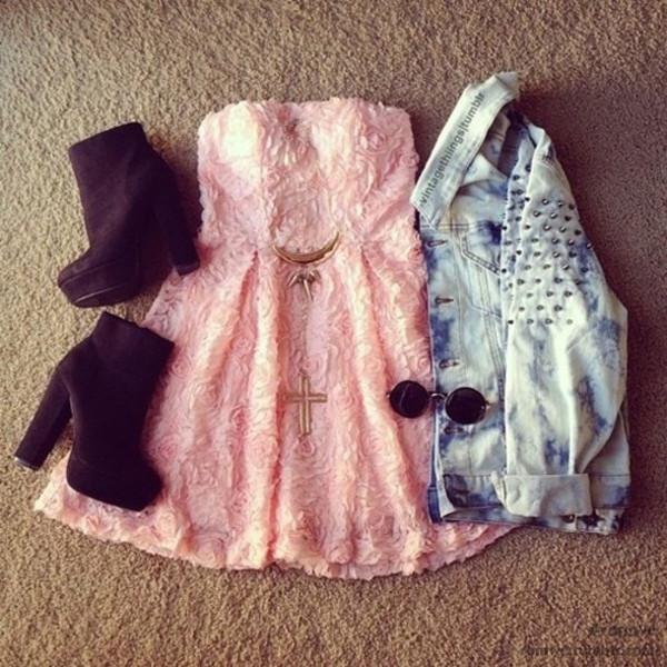 dress pink dress baby pink dress rose pattern lace skater dress denim jacket jacket shoes