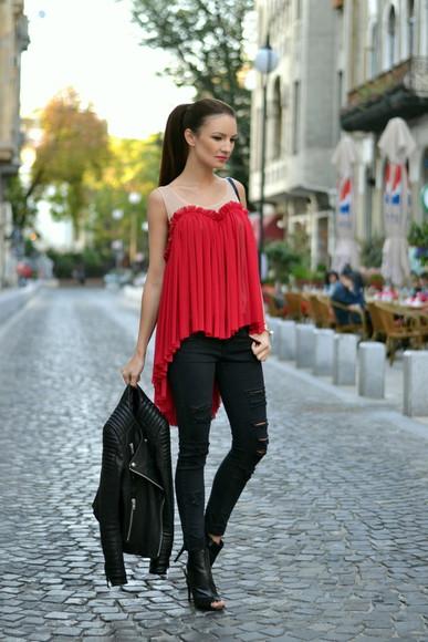 my silk fairytale bag blogger blouse jeans jacket