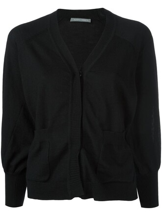 cardigan cropped women black wool sweater