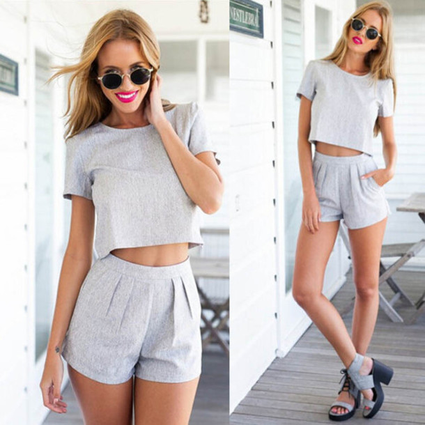 Shorts Grey Shorts Matching Set Grey High Waisted
