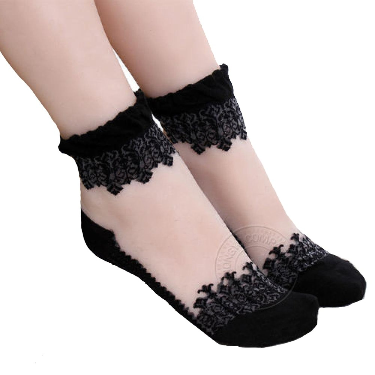Transparent Short Lace Ankle Ladies Crystal Stockings Princess Girl Sock at Amazon Women's Clothing store: