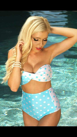 swimwear bikini high waisted bikini polka dots swimwear polka dots