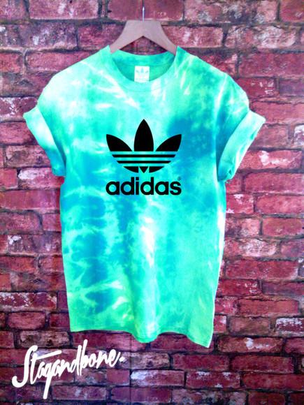 retro adidas t-shirt trefoil tie dye acid wash adi
