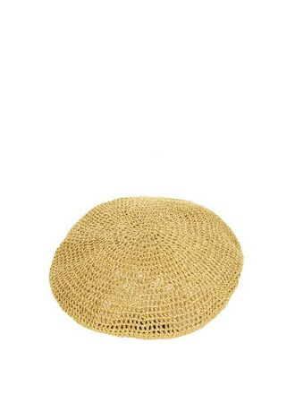 metallic beret gold hat