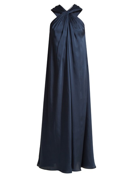 Elizabeth and James dress sleeveless draped navy