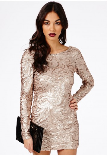 Hatsumia Gold Sequin Swirl Bodycon Dress - Dresses - Mini Dresses - Missguided | Ireland