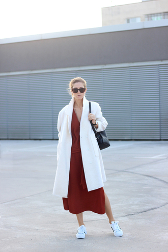 sirma markova blogger coat dress jewels sunglasses shoes