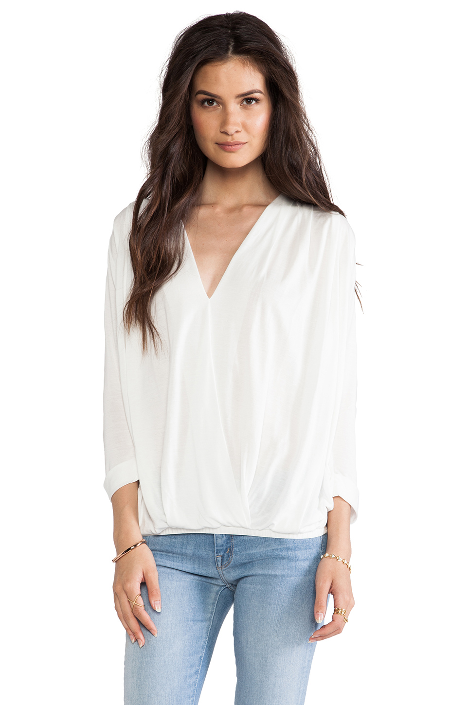 dolan Rolled Sleeve Cross Front Blouse in Ivory | REVOLVE