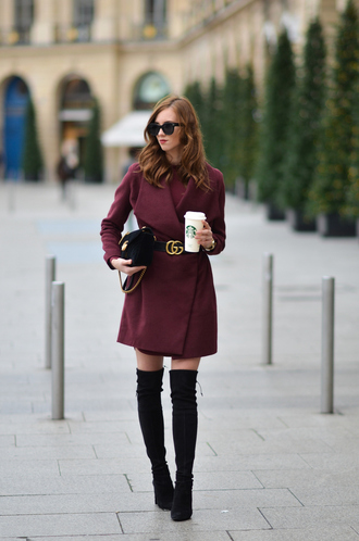 vogue haus blogger coat dress shoes belt bag sunglasses jewels thigh high boots black boots burgundy coat gucci gucci belt black bag gucci bag fall outfits