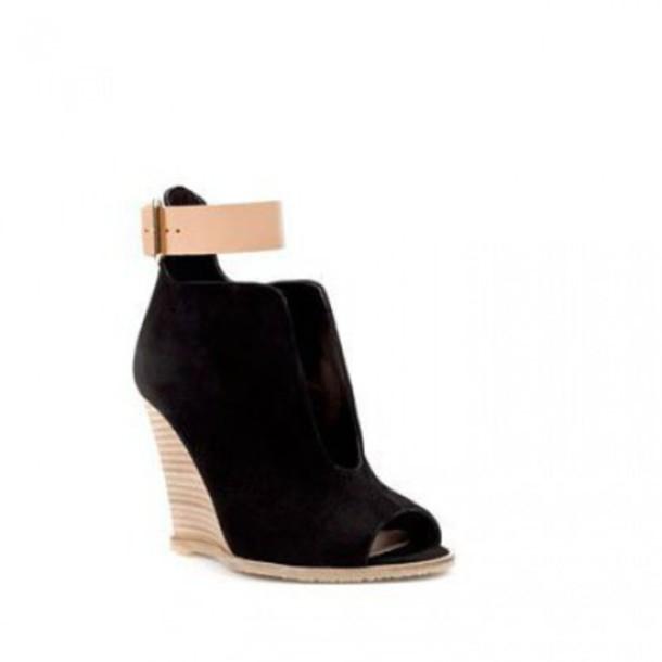 shoes open shoes zara noir compensée